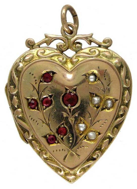 Heart Shaped Gold Locket With Garnet Amp Pearl Decorative