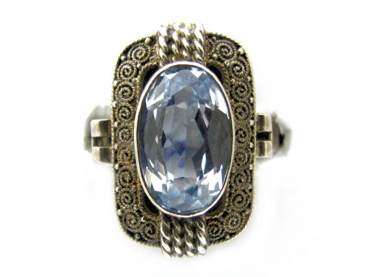 Art Deco Theodor Fahrner Silver Amp Blue Paste Ring The