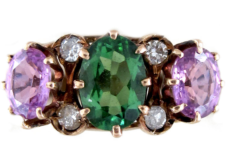 Suffragette Pink Amp Green Tourmaline Ring The Antique