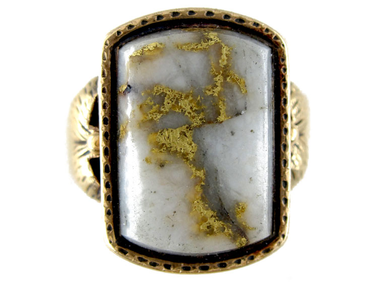 Gold Quartz Miner S Ring The Antique Jewellery Company