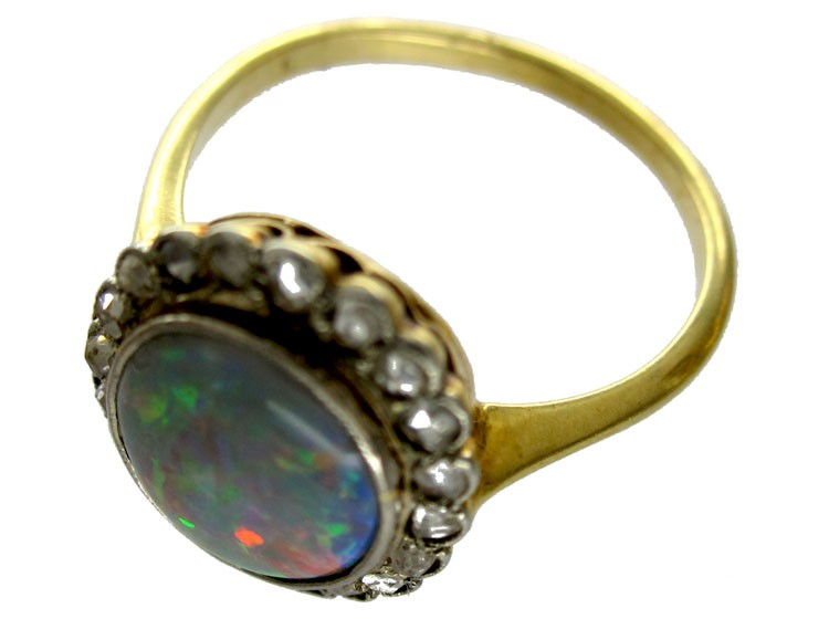 harlequin black opal ring the antique jewellery