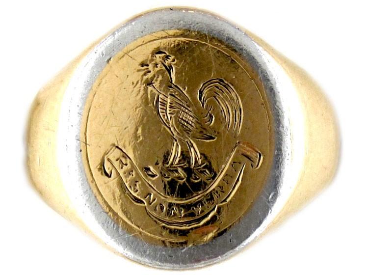 platinum 18ct signet ring the antique jewellery company