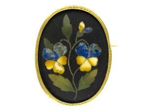 Pietra Dura Flower Brooch
