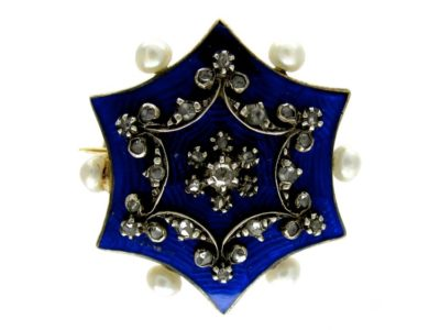 Blue Enamel Rose Diamond & Natural Pearls Brooch