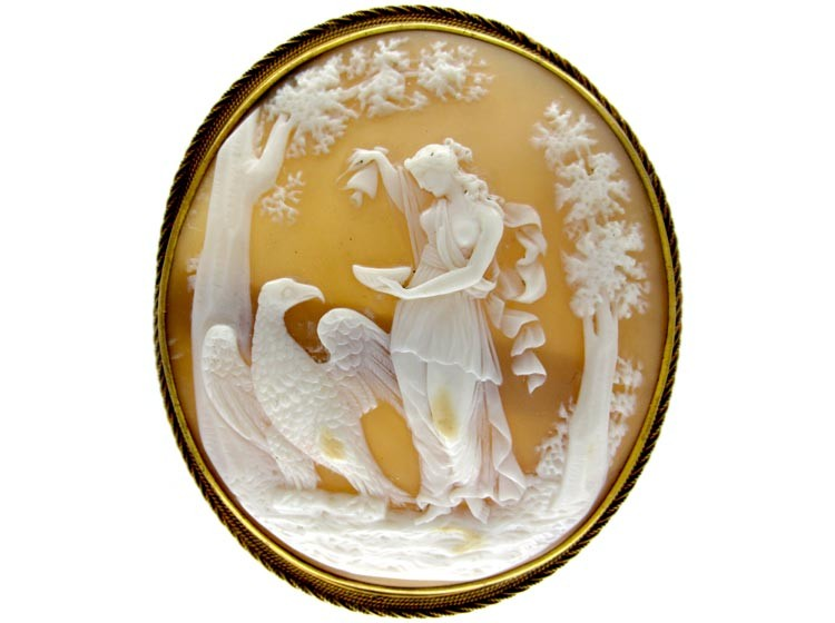 Shell Cameo of Lady & Eagle