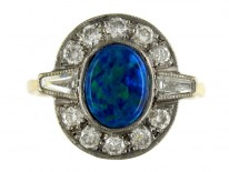 Art Deco Black Opal & Diamond Ring