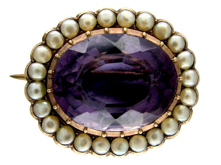 Regency Amethyst & Natural Pearls Brooch