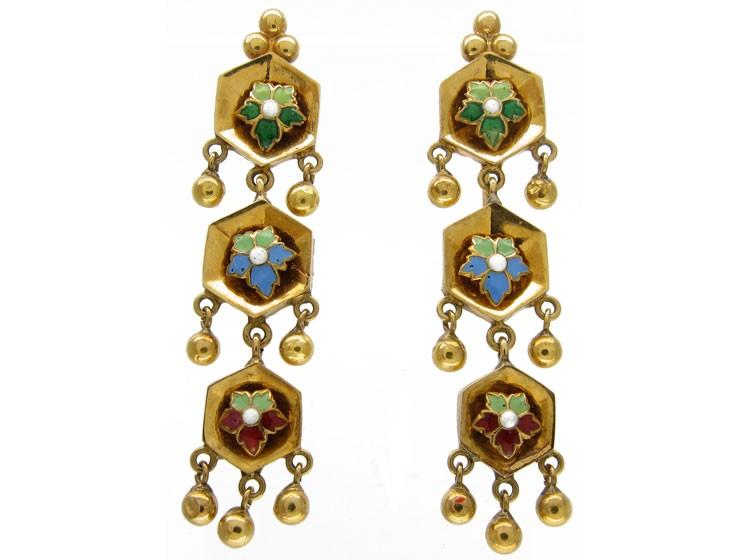 Swiss Enamel Gold Drop Earrings
