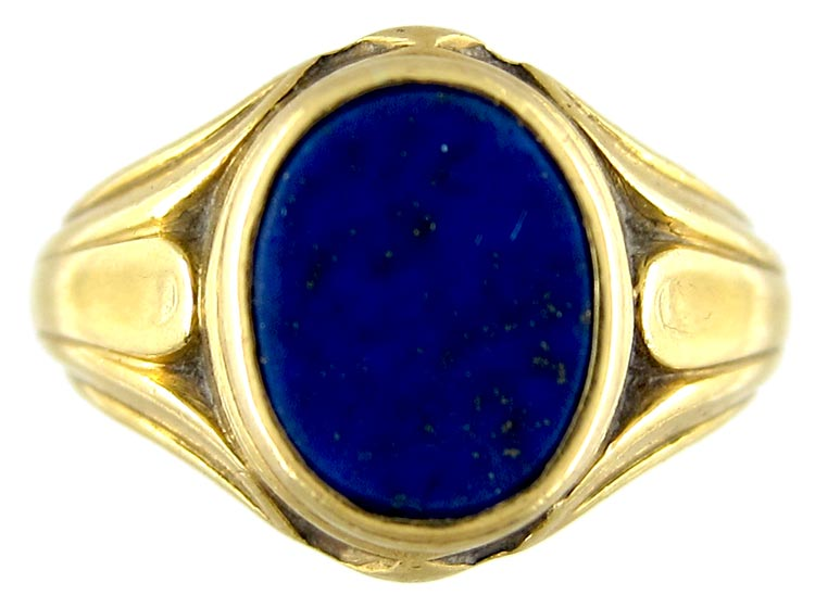 Lapis Lazuli 18ct Gold Signet Ring The Antique Jewellery