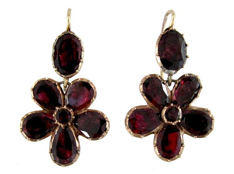 Georgian Flat Cut Garnet Earrings The Antique Jewellery