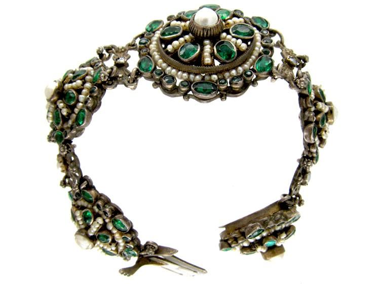 Austro- Hungarian Silver & Garnet Doublet & Pearl Bracelet