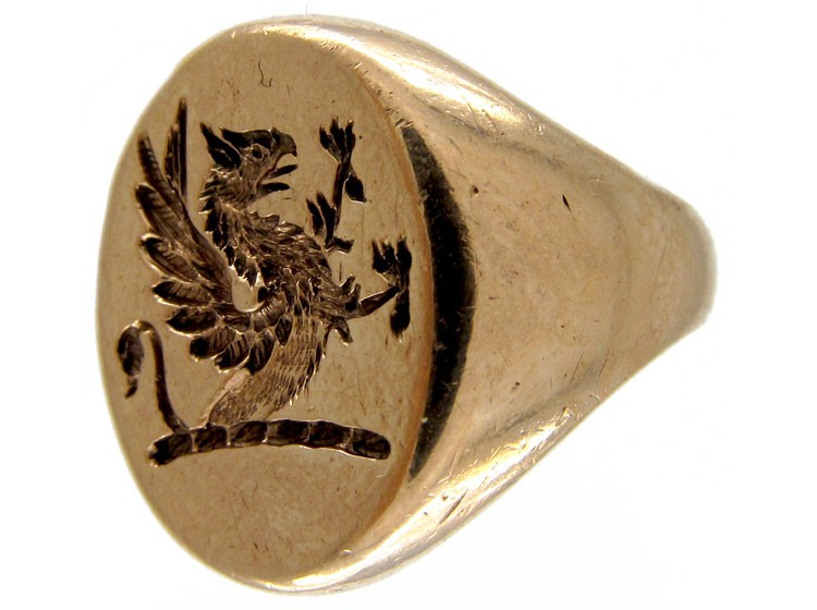 9ct Gold Griffin Signet Ring The Antique Jewellery Company