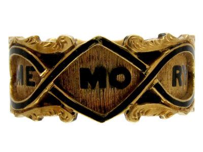 Georgian 18ct Gold & Black Enamel Memorial Ring