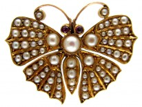 Gold & Natural Pearl Victorian Butterfly Brooch