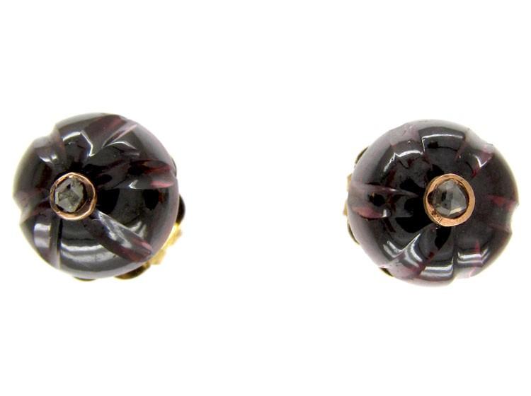 Garnet & Diamond Stud Earrings