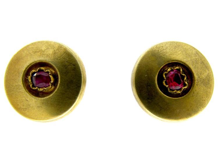 Gold & Ruby Victorian Earrings