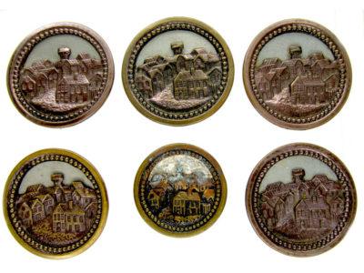 Set of Six German Castle Buttons
