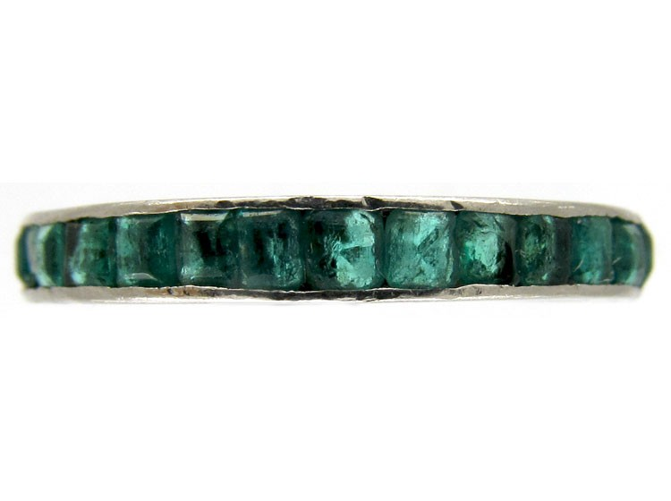 emerald 18ct white gold eternity ring the antique