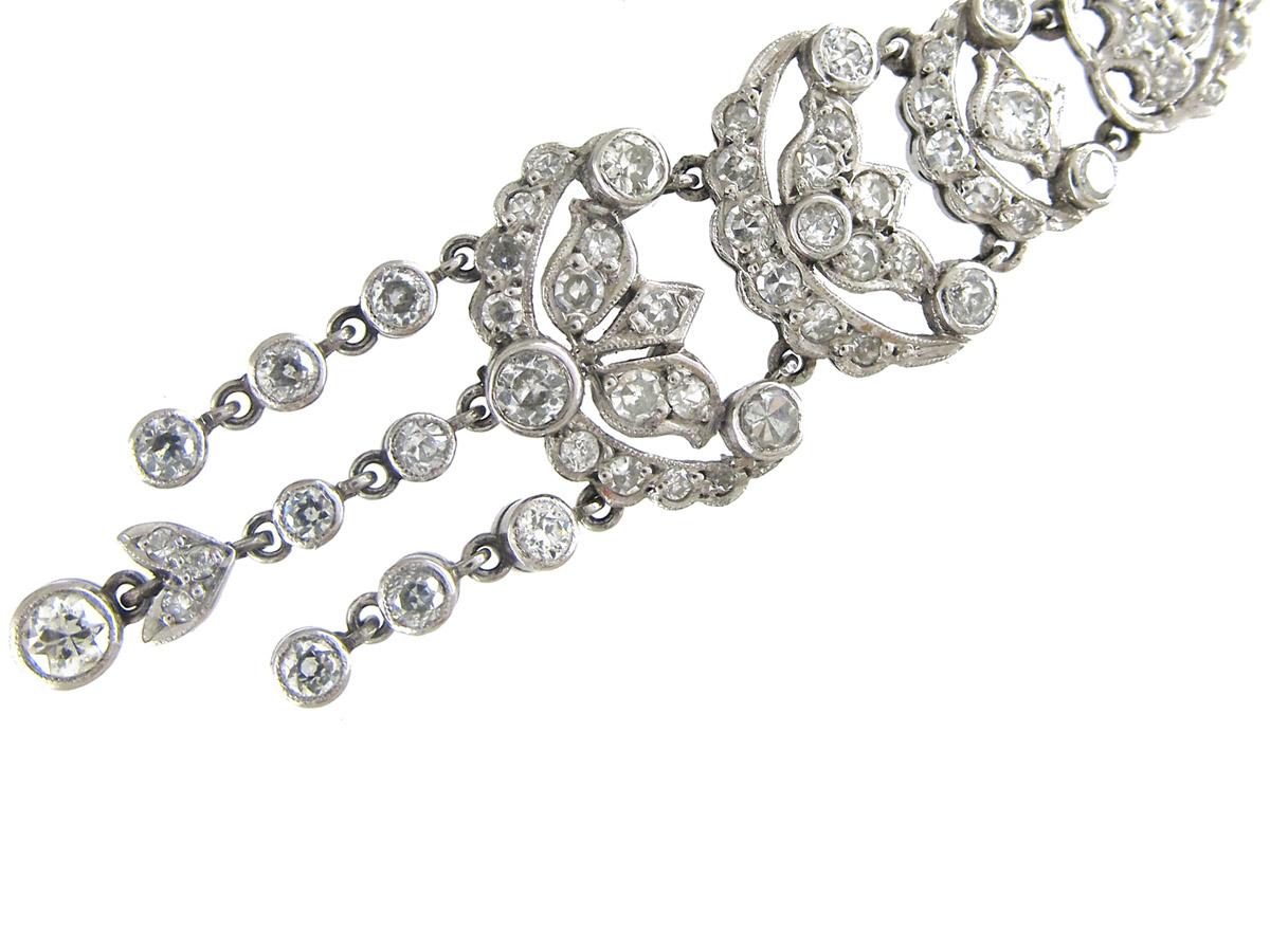 Edwardian Platinum Amp Diamond Long Drop Earrings The