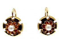 Victorian Black Enamel & Pearl 18ct Gold Earrings