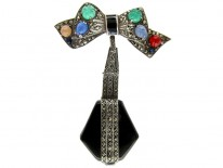 Art Deco Enamel & Marcasite Silver Watch