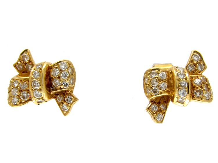 18ct Gold Diamond Bow Earrings The Antique Jewellery pany