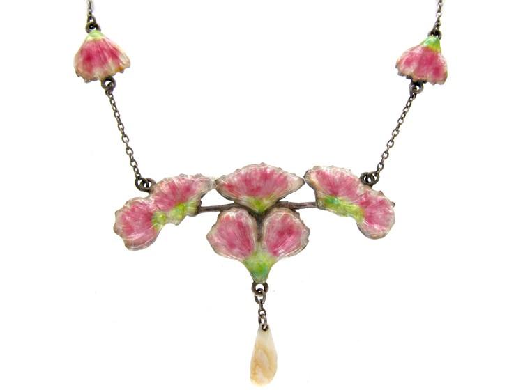 Art Nouveau Pink & Green Enamel Silver Necklace