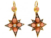 Victorian Coral & Diamond Star Drop Earrings
