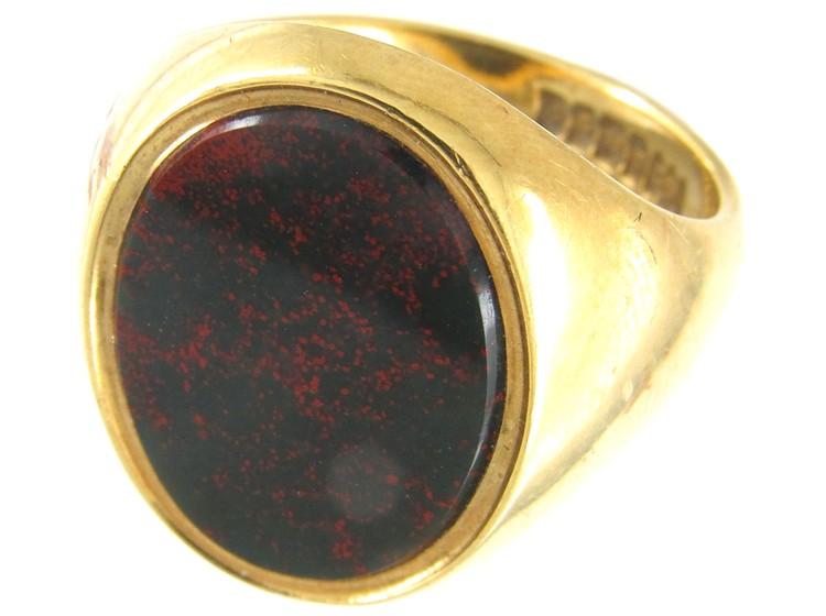 18ct Gold Bloodstone Plain Signet Ring The Antique