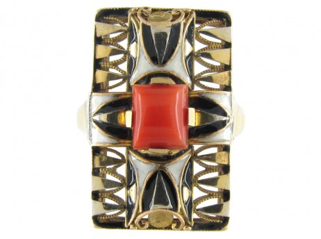 Art Deco Coral & Enamel Ring