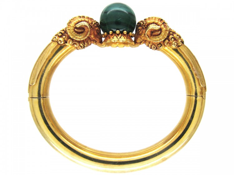 gold rams 39 heads bangle by otto klein the antique jewellery company. Black Bedroom Furniture Sets. Home Design Ideas