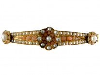 Coral & Natural Pearl Victorian 15ct Gold Bangle