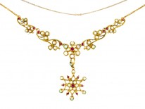 Opal & Ruby 15ct Gold Necklace in Original Case