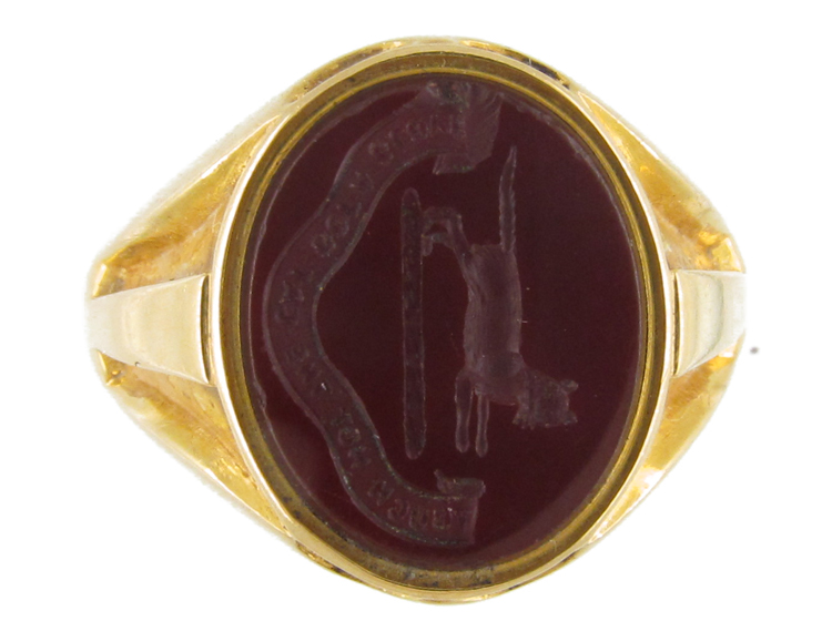 18ct gold carnelian intaglio signet ring the