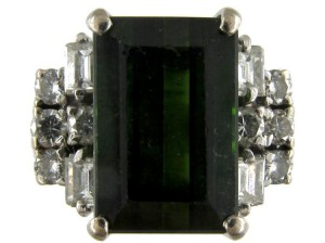 Green Tourmaline & Diamond Retro Ring