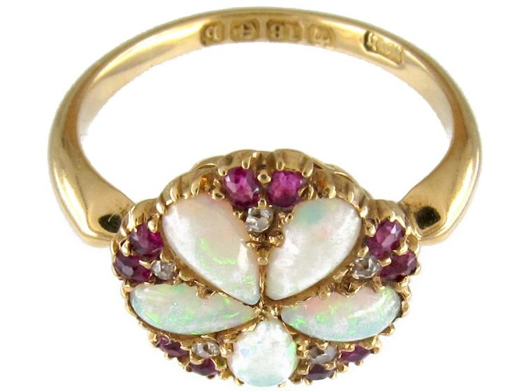 Opal Ruby Amp Diamond Cluster Ring The Antique Jewellery