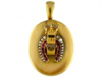 Gold Horseshoe & Buckle Ruby, Diamond & Pearl Victorian Locket