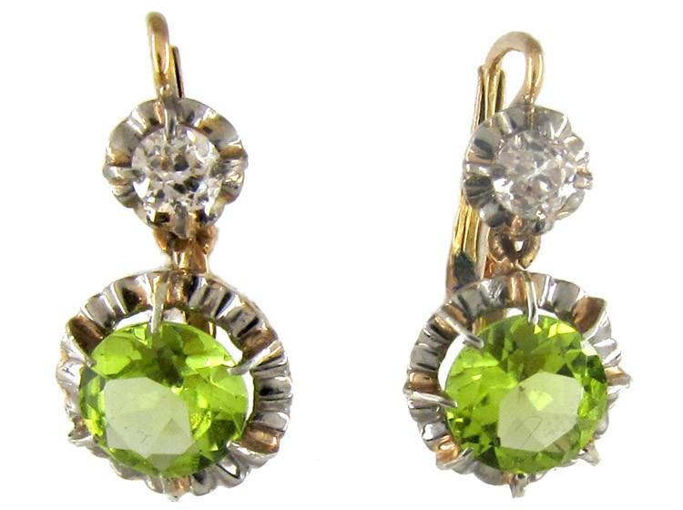 Edwardian Peridot Diamond Earrings