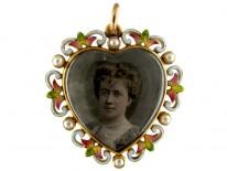 Jubilee Enamel 15ct Gold Heart Pendant