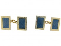 Blue & White Enamel 18ct Gold Cufflinks by Cropp & Farr