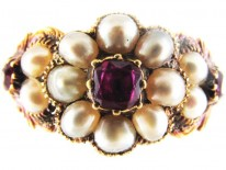 Ruby & Natural Pearl Cluster Regency Ring