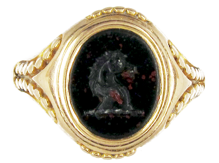 victorian 18ct gold amp bloodstone horse head signet ring