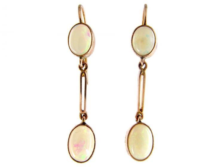 Opal 9ct Gold Drop Earrings