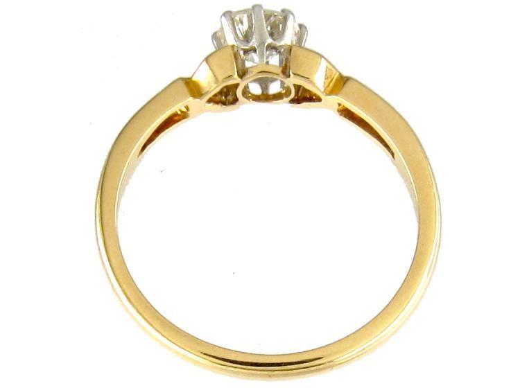 Single Stone Diamond Yellow Gold Solitaire Ring of Geometric
