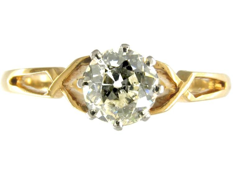 Single Stone Diamond Yellow Gold Solitaire Ring of Geometric