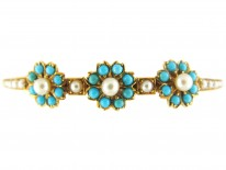 Turquoise & Pearl Edwardian 15ct Gold Bangle