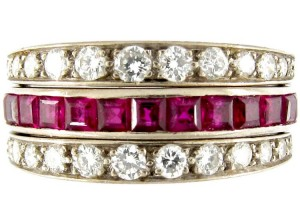 Diamond, Sapphire & Ruby Art Deco Flip-over Ring
