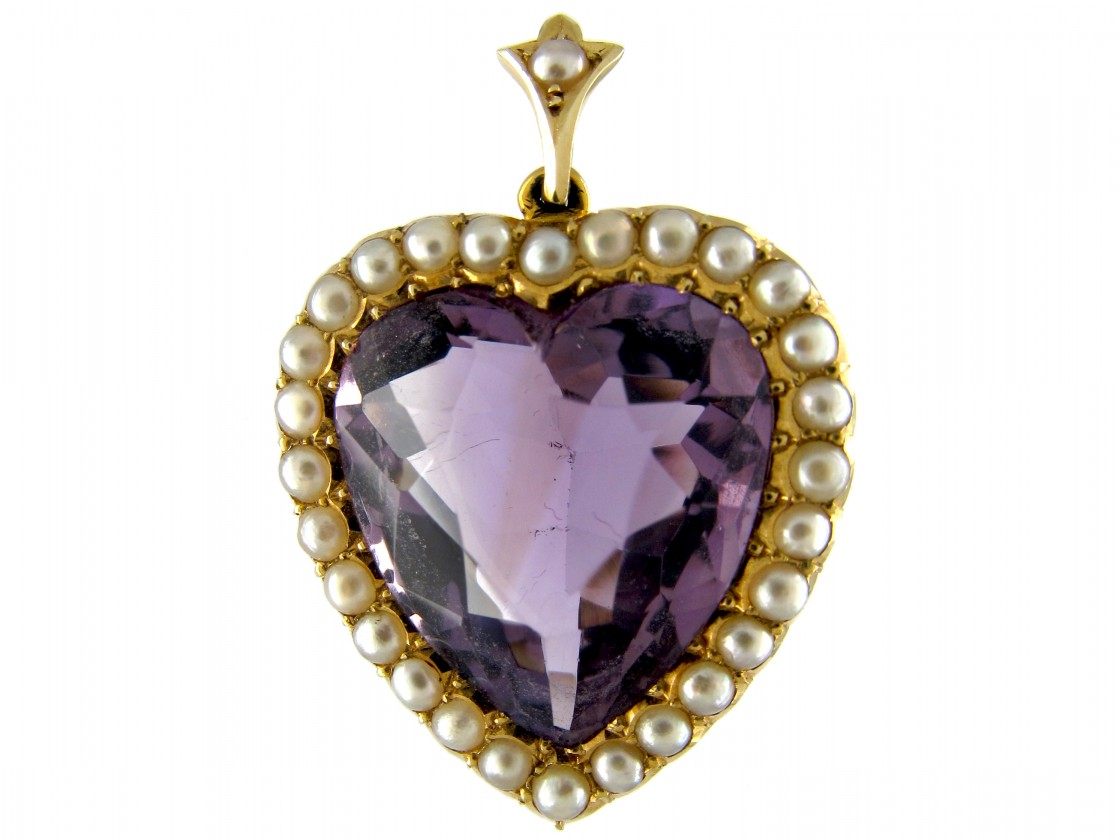 Amethyst Amp Pearl Gold Heart Pendant The Antique