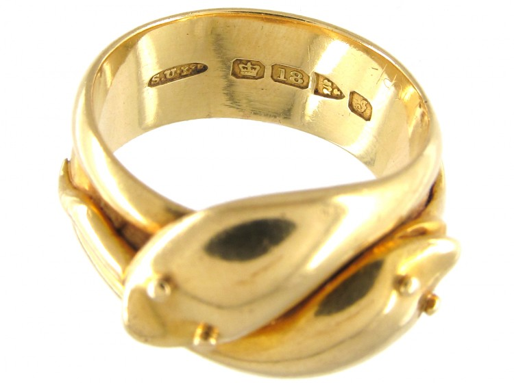 Edwardian 18ct Gold Double Snake Ring The Antique