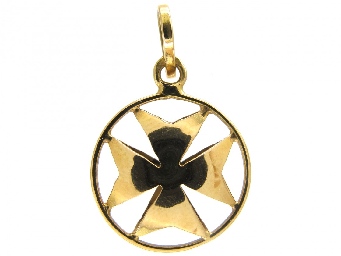 Gold maltese cross pendant charm the antique jewellery company gold maltese cross pendant charm mozeypictures Image collections